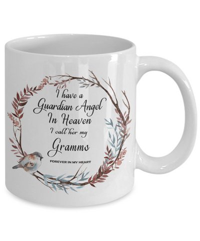 Image of In Remembrance Gift Mug Guardian Angel in Heaven I Call Him My Gramms Grandmother Ceramic Coffee Cup