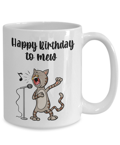 Image of Happy Birthday to Mew Singing Cat Mug Ceramic Coffee Cup