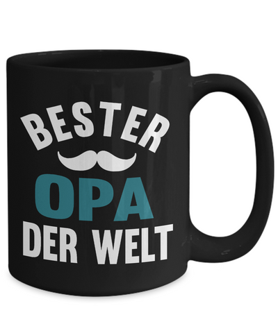 Bester Opa Derwelt Black Mug Gift German Best Grandpa in The World Father's Coffee Cup