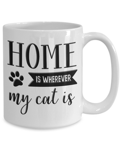 Cat Mom Dad Gifts Home is Wherever My Cat Is Ceramic Coffee Mug Gift for Cat Lovers
