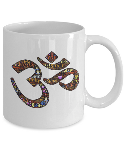 "Image of Gift for Meditation Lover, "" Ohm"" Sound Symbol Inspirational Gift Coffee Mug"