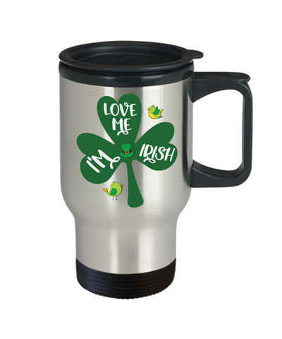 Love Me I'm Irish Travel Mug St Patrick's Day Gift Ireland Paddy's Novelty Coffee Cup