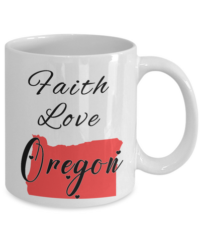 Image of Patriotic USA Gift Mug Faith Love Oregon Unique Novelty Birthday Christmas Ceramic Coffee Tea Cup