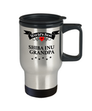 World's Best Shiba Inu Grandpa Unique Travel Coffee Mug With Lid Gift for Men