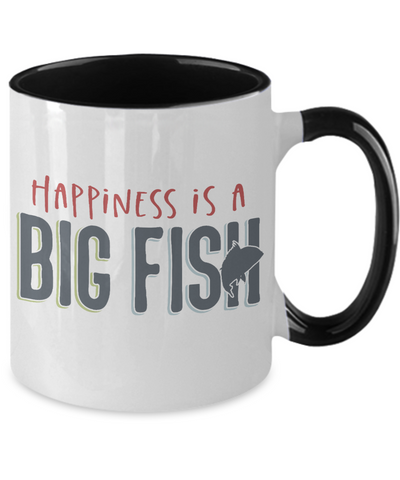 Image of Fishing Happiness is a Big Fish Coffee Mug Fisherman Two Tone Ceramic Cup