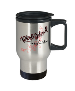 State of Rhode Island in My Heart Travel Mug With Lid Unique Novelty Birthday Christmas Gifts Coffee Tea Cup