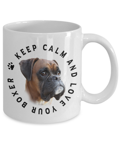 Image of Keep Calm and Love Your Boxer Ceramic Mug Gift for Dog Lovers