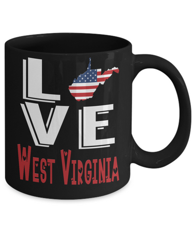 Love West Virginia State Black Mug Gift Novelty American Keepsake Coffee Cup