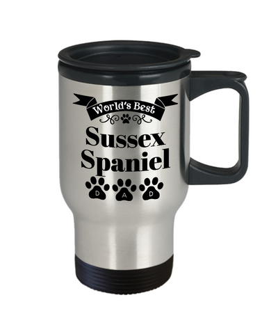 Image of World's Best Sussex Spaniel Dog Dad Insulated Travel Mug With Lid Fun Novelty Birthday Gift Work Coffee Cup