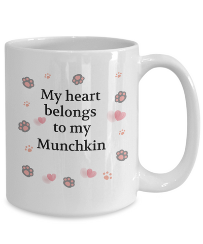 Image of My Heart Belongs to My Munchkin Mug Cat Unique Novelty Coffee Cup Gifts