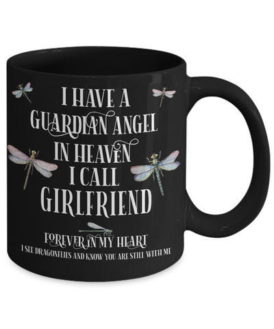 Girlfriend Dragonfly Memorial Black Mug Gift Guardian Angel In Loving Memory Keepsake Cup