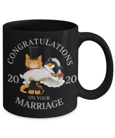 Congratulations Marriage 2020 Cat Black Mug Gift Wedding Mr & Mrs Fur Lovers Cup