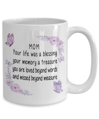 Image of Mom Memorial Gift Mom Your life was a blessing your memory a treasure.. Mother's Memory Keepsake