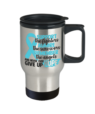 Support Admire Remember Angels Cancer Travel Mug Gift Awareness Support Cup