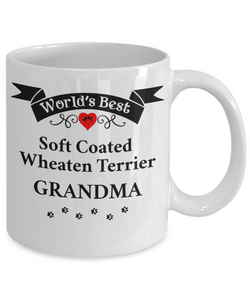 World's Best Soft Coated Wheaten Terrier  Grandma Unique Ceramic Dog Coffee Mug Gifts for Women