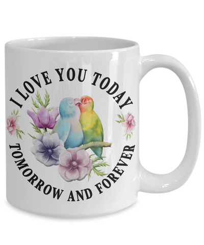 I Love You Lovebird Mug Gift Novelty Birthday Christmas Valentine's Day Coffee Cup