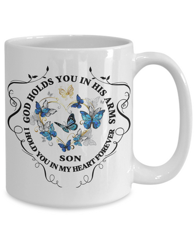Son Memorial Gift Mug God Holds You In His Arms Remembrance Sympathy Mourning Cup