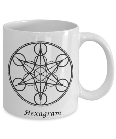 Image of Sacred Geometry Mug Gifts Hexagram Ceramic Coffee Cup
