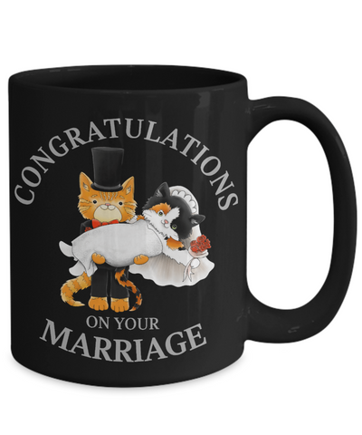 Congratulations Marriage Cat Black Mug Gift Wedding Mr & Mrs Fur Lovers Cup