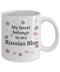 My Heart Belongs to My Russian Blue Mug Cat Unique Novelty Coffee Cup Gifts