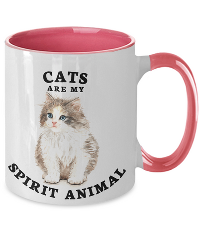 Cats Are My Spirit Animal Mug Two-Toned Ceramic Coffee Cup