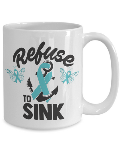 Refuse to Sink Fight Cancer Mug Gift Awareness Support Coffee Cup