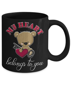 My Heart Belongs to You Teddy Bear Black Mug Gift Love You Surprise Valentine's Day Cup