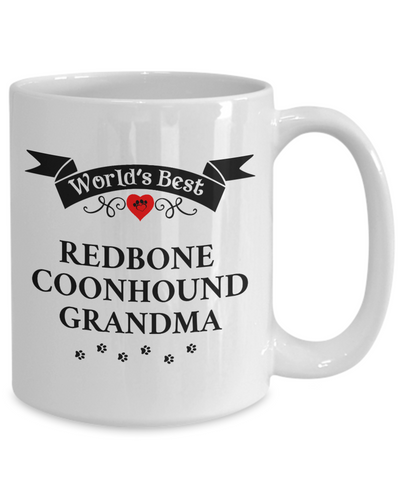 Image of World's Best Redbone Coonhound Grandma Cup Unique Ceramic Dog Coffee Mug Gifts