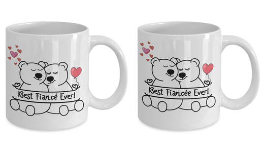 Best Fiancée and Fiancé Ever Bear Mug Gift Set