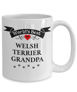 World's Best Welsh Terrier Grandpa Cup Unique Ceramic Dog Coffee Mug Gifts for Men