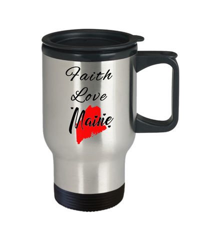 Image of Patriotic USA Gift Travel Mug With Lid Faith Love Maine Unique Novelty Birthday Christmas Ceramic Coffee Tea Cup