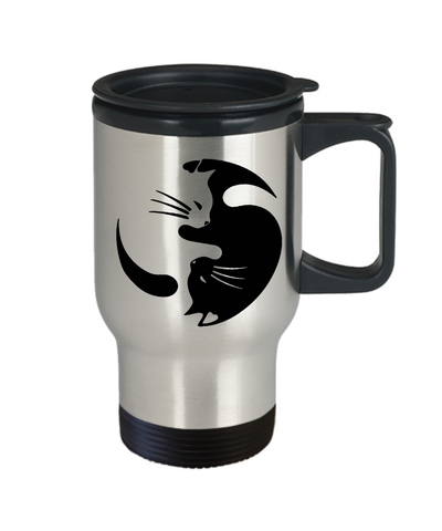 Image of Cat Yin Yang Travel Coffee Mug Gift for Crazy Cat Lady Cup Cat Lovers Gifts Cat Enthusiasts