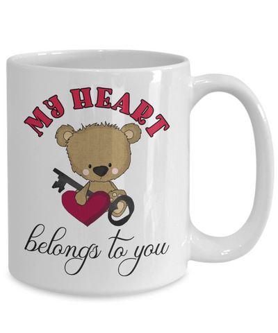 Image of My Heart Belongs to You Teddy Bear Mug Gift Love You Surprise Valentine's Day Birthday Cup