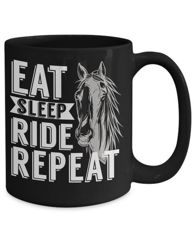 Image of Eat Sleep Ride Repeat Horse Addict Black Mug Gift Equine Lover  Novelty Coffee Cup