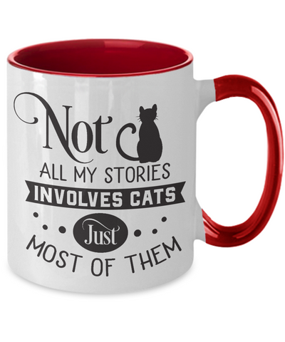 My Stories Involves Cats Coffee Mug Funny Novelty Two-Tone Ceramic Cup