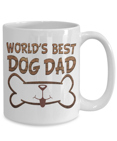 World's Best Dog Dad Mug Novelty Birthday Quote Gift Ceramic Coffee Cup