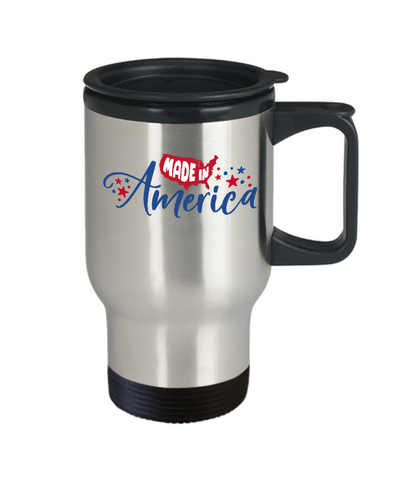 Made in America Patriotic Travel Mug With Lid Coffee Cup