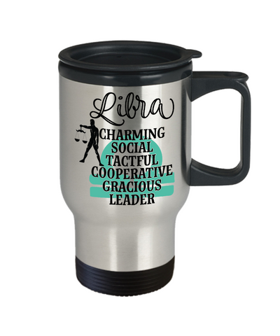 Image of Libra Zodiac Travel Mug Gift Fun Novelty Birthday Coffee Cup