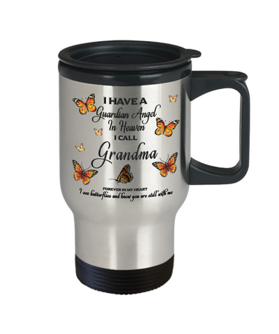 Image of Grandma In Loving Memory Travel Mug With Lid Guardian Angel in Heaven Monarch Butterfly Gift Memorial Coffee Cup
