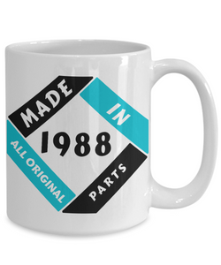 Made in 1988 Birthday Mug Gift Fun All Original Parts Unique Novelty Celebration