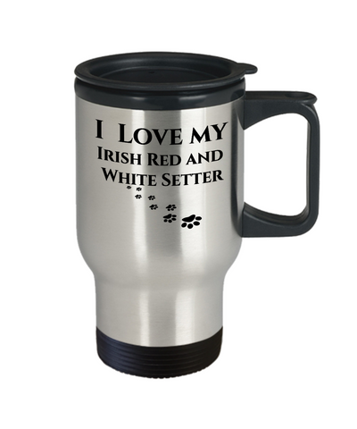 Image of I Love My Irish Red And White Setter Travel Mug Novelty Birthday Gifts Unique  Coffee Cup Gifts for Men Women