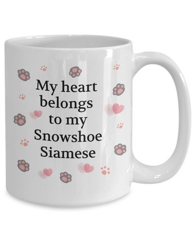 Image of My Heart Belongs to My Siamese Snowshoe Mug Novelty Birthday Unique Gifts