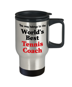 World's Best Tennis Coach Occupational Insulated Travel Mug With Lid Gift Novelty Birthday Thank You Appreciation Coffee Cup
