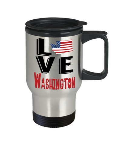 Love Washington State Travel Mug Gift Novelty American Keepsake Coffee Cup