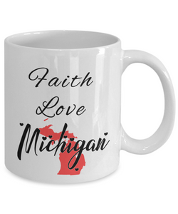 Patriotic USA Gift Mug Faith Love Michigan Unique Novelty Birthday Christmas Ceramic Coffee Tea Cup