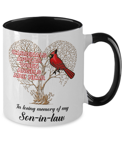 Image of Son-in-law Cardinal Memorial Coffee Mug Angels Appear Keepsake Two-Tone Cup