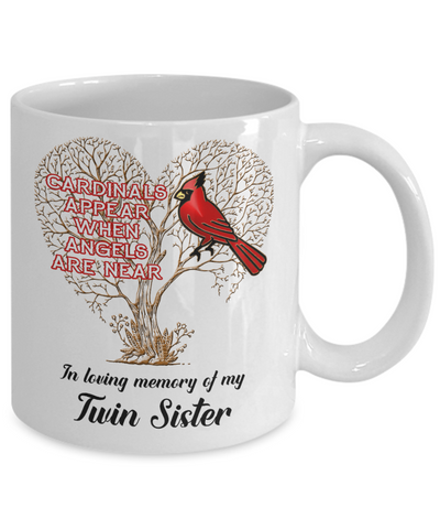 Image of Twin Sister Cardinal Memorial Coffee Mug Angels Appear Keepsake