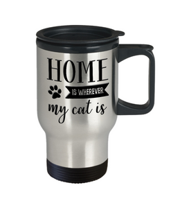 Cat Mom Dad Gifts Home is Wherever My Cat Is Coffee Travel Mug Gift for Cat Lover