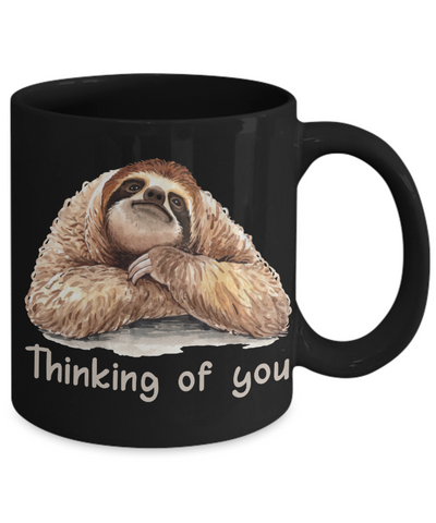 Image of Thinking of You Sloth Black Mug Gift Get Well Support Condolences Novelty Coffee Cup