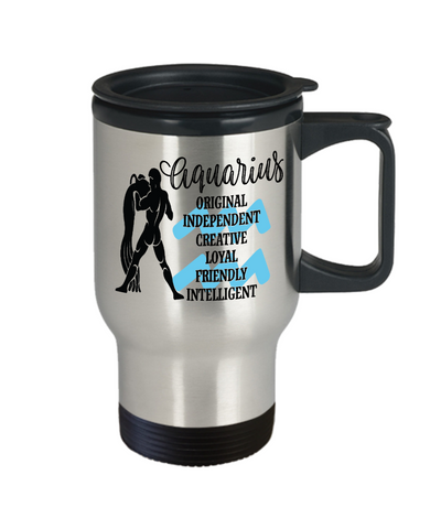Image of Aquarius Zodiac Travel Mug Gift Fun Novelty Birthday Coffee Cup